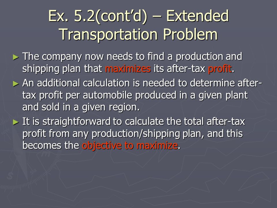 Ex. 5.2(cont'd) – Extended Transportation Problem