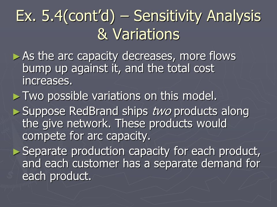 Ex. 5.4(cont'd) – Sensitivity Analysis & Variations
