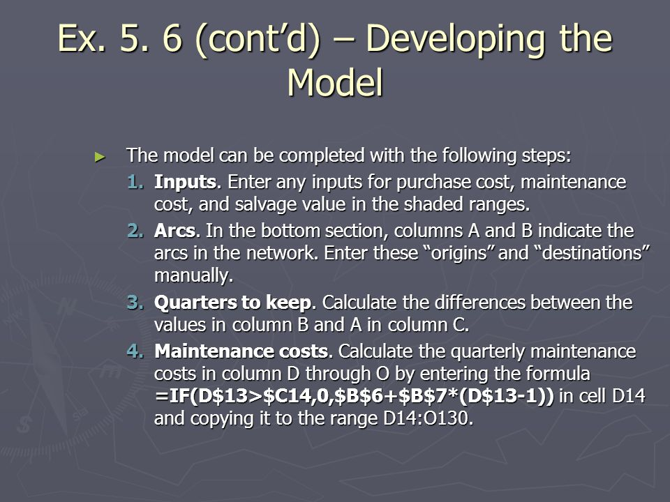 Ex (cont'd) – Developing the Model