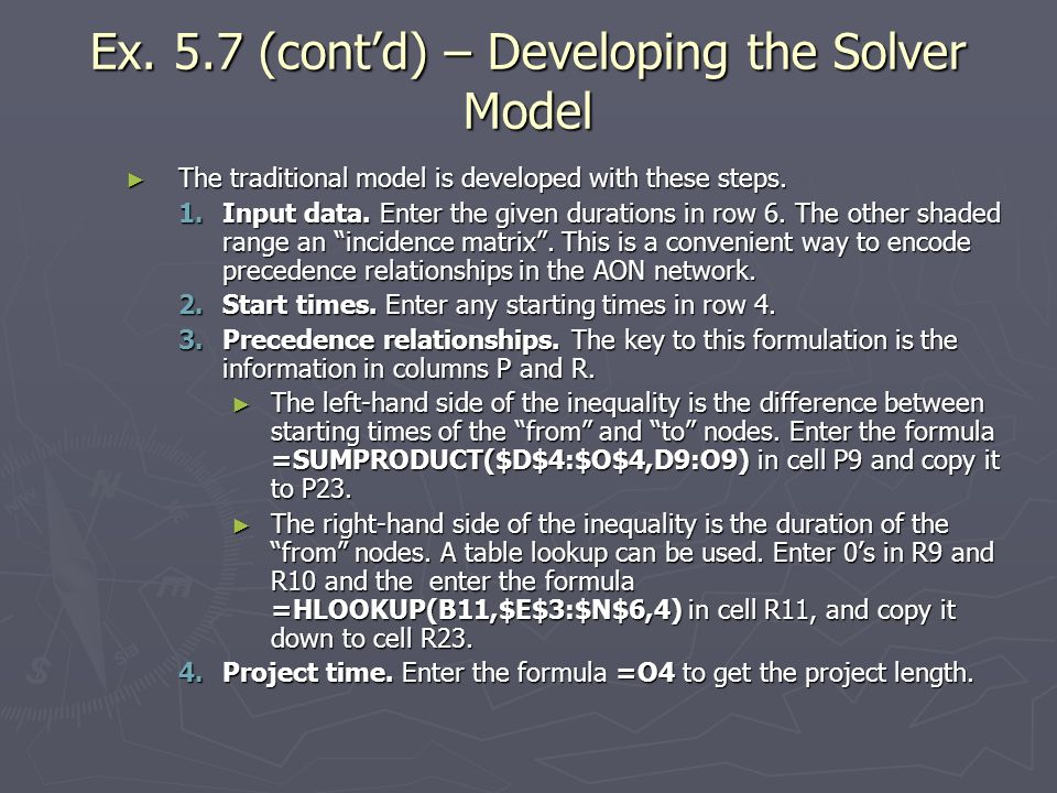 Ex. 5.7 (cont'd) – Developing the Solver Model
