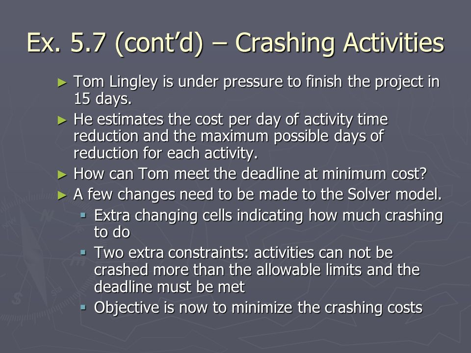 Ex. 5.7 (cont'd) – Crashing Activities
