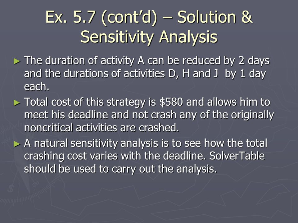 Ex. 5.7 (cont'd) – Solution & Sensitivity Analysis