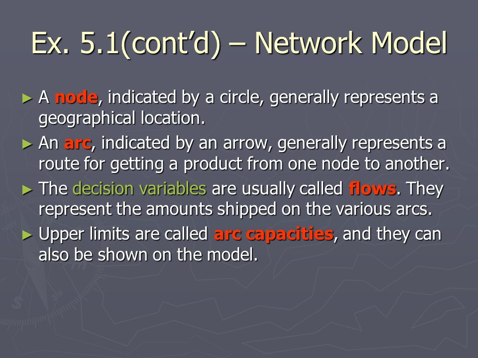 Ex. 5.1(cont'd) – Network Model