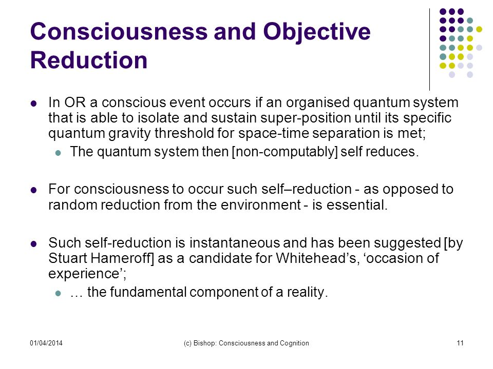 Consciousness and Objective Reduction