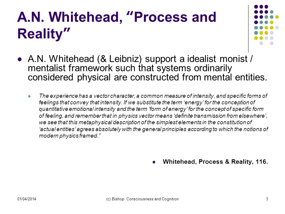 A.N. Whitehead, Process and Reality