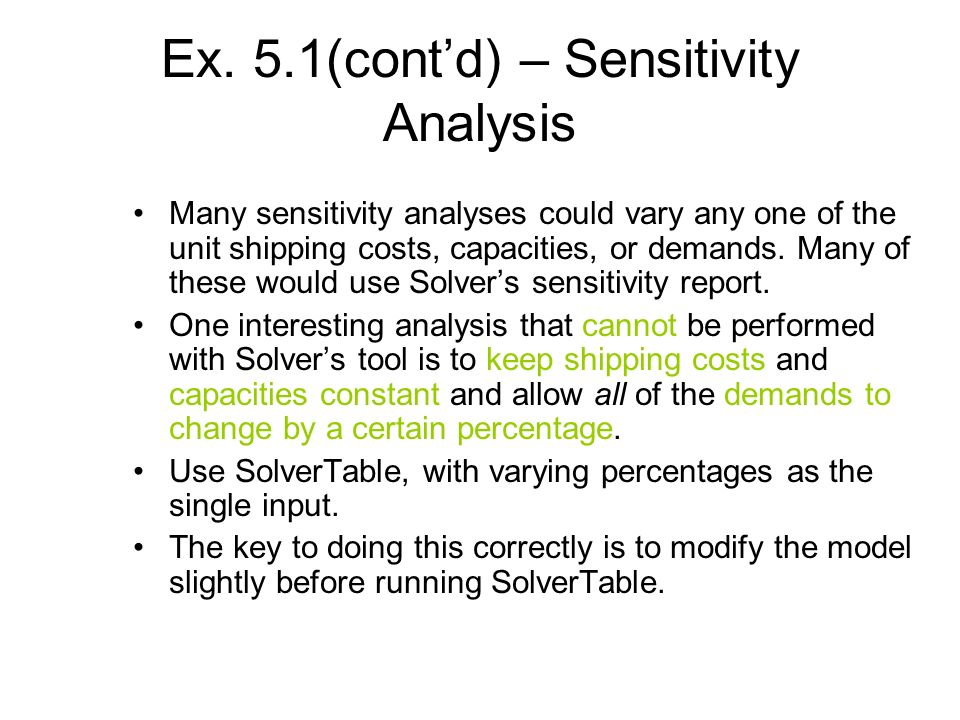 Ex. 5.1(cont'd) – Sensitivity Analysis