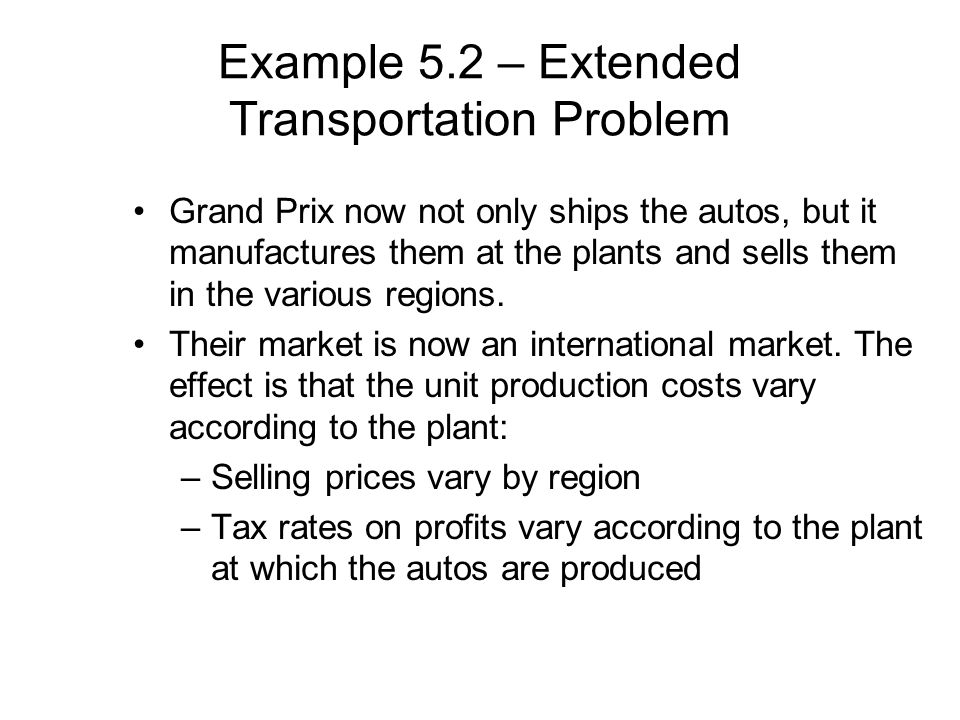 Example 5.2 – Extended Transportation Problem
