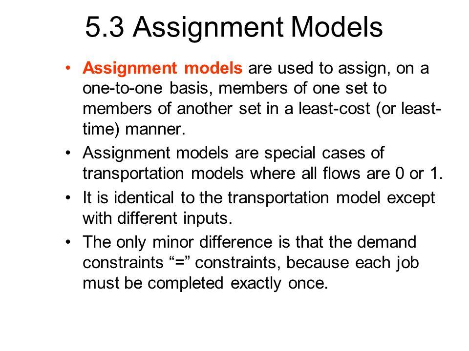 5.3 Assignment Models