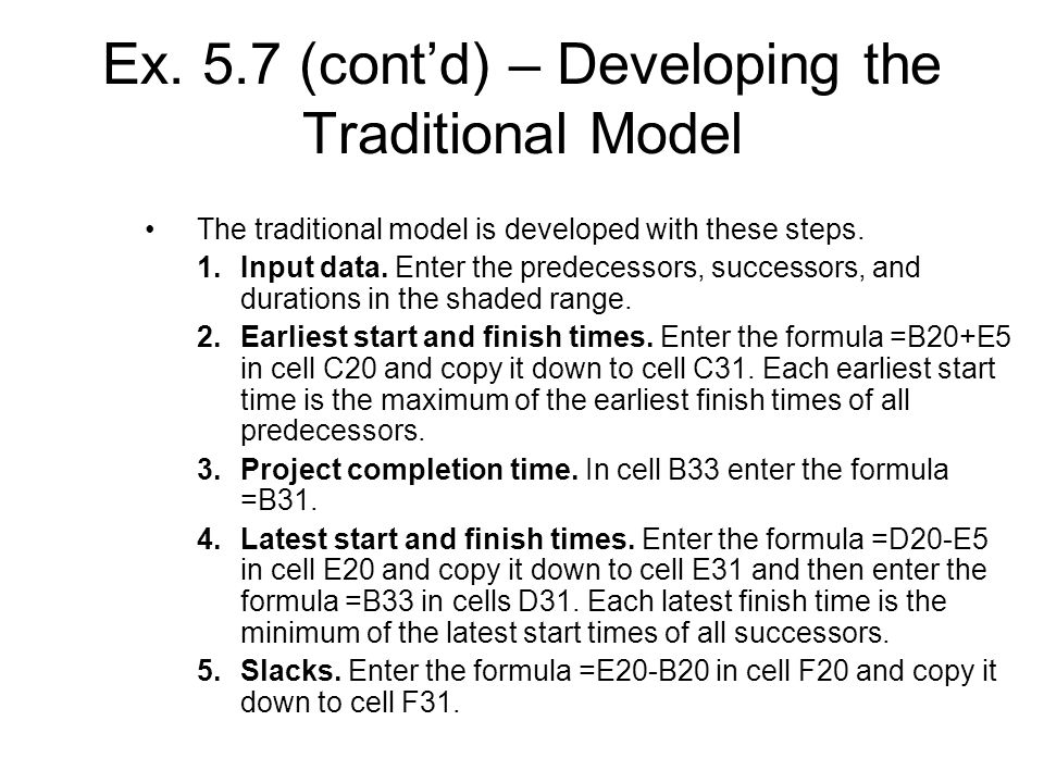Ex. 5.7 (cont'd) – Developing the Traditional Model