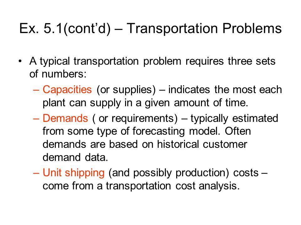 Ex. 5.1(cont'd) – Transportation Problems