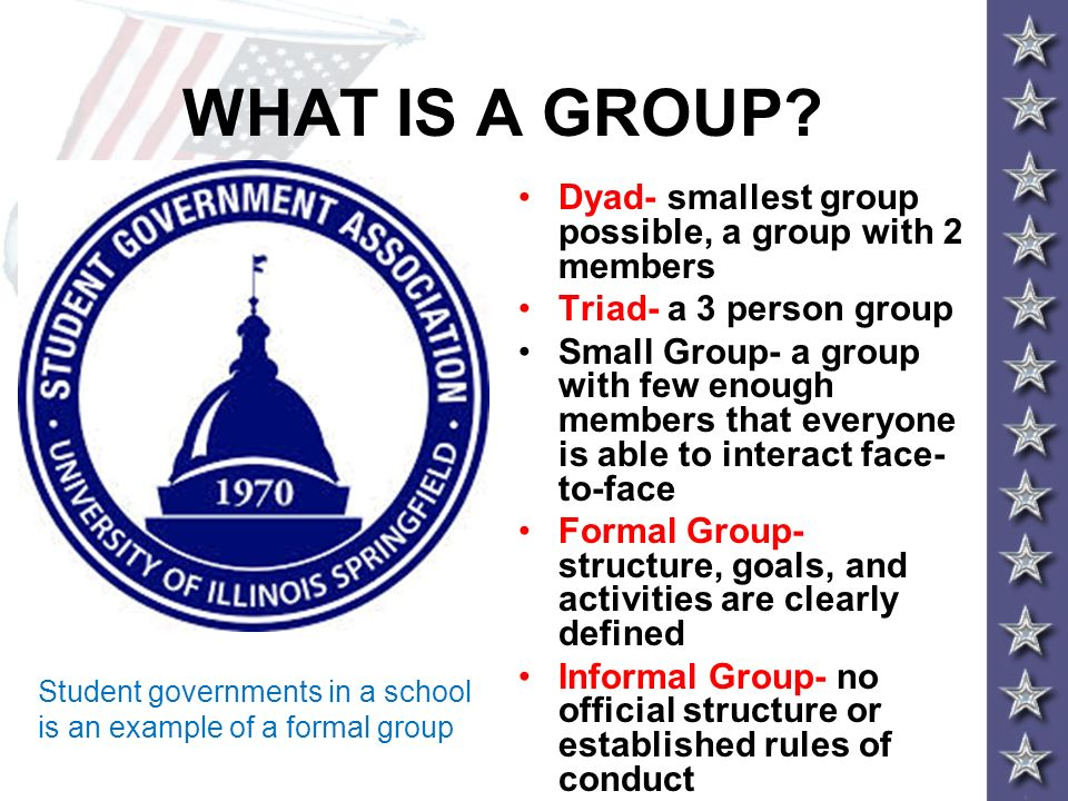 WHAT IS A GROUP Dyad- smallest group possible, a group with 2 members