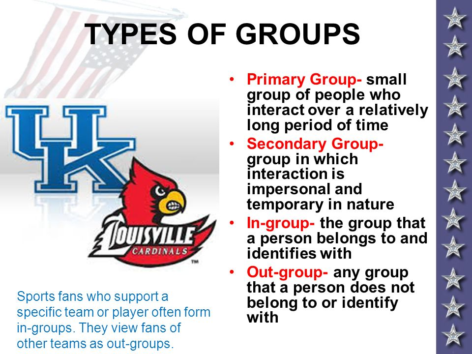 TYPES OF GROUPS Primary Group- small group of people who interact over a relatively long period of time.