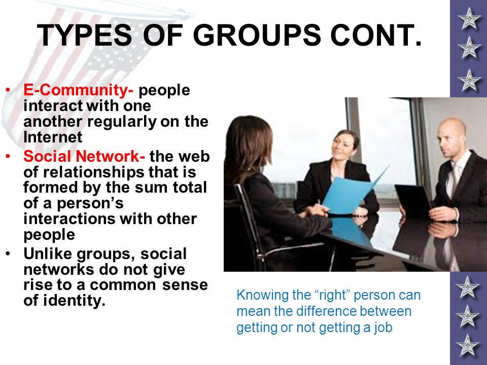 TYPES OF GROUPS CONT. E-Community- people interact with one another regularly on the Internet.