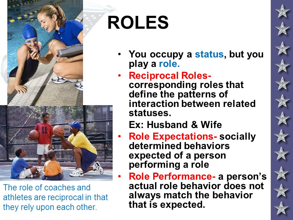 ROLES You occupy a status, but you play a role.