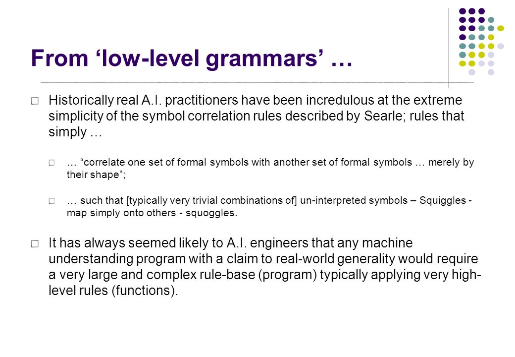 From 'low-level grammars' …