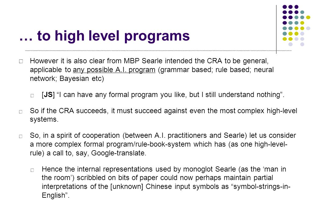 … to high level programs