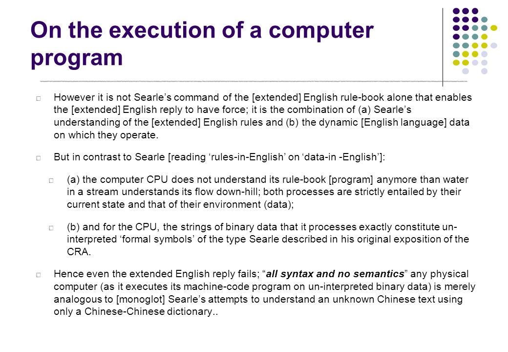 On the execution of a computer program