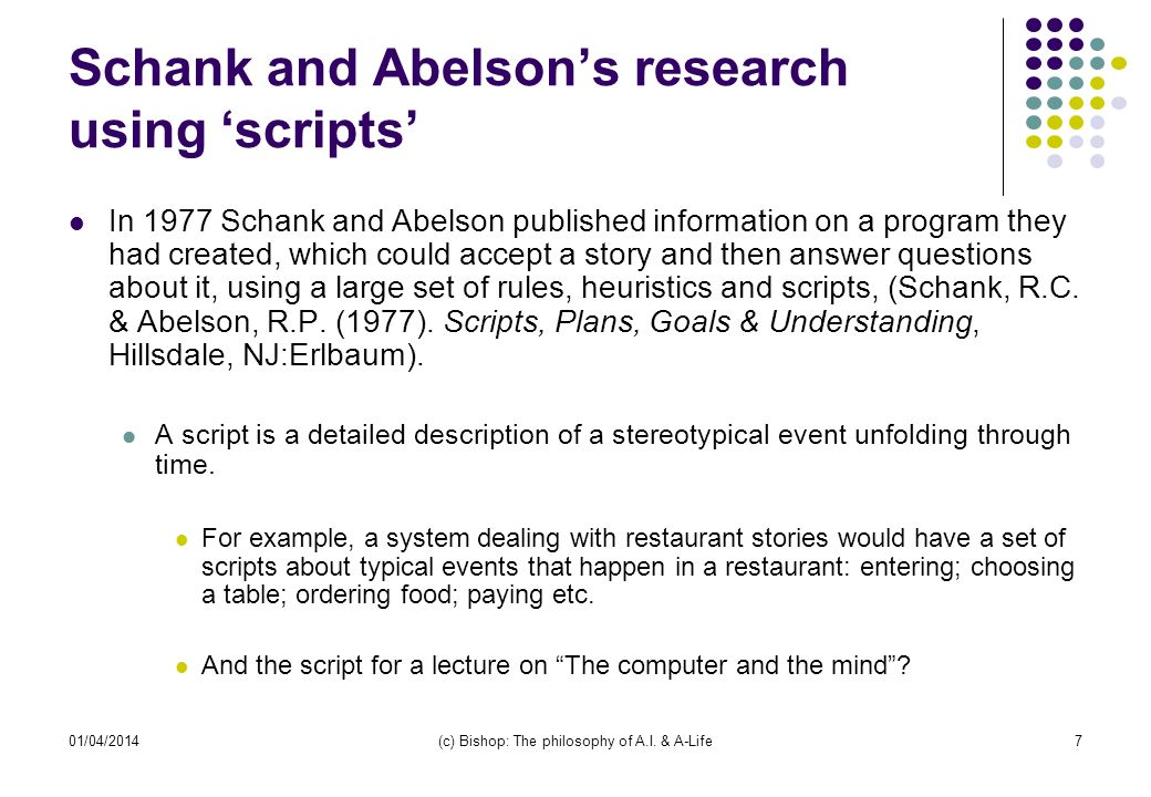 Schank and Abelson's research using 'scripts'