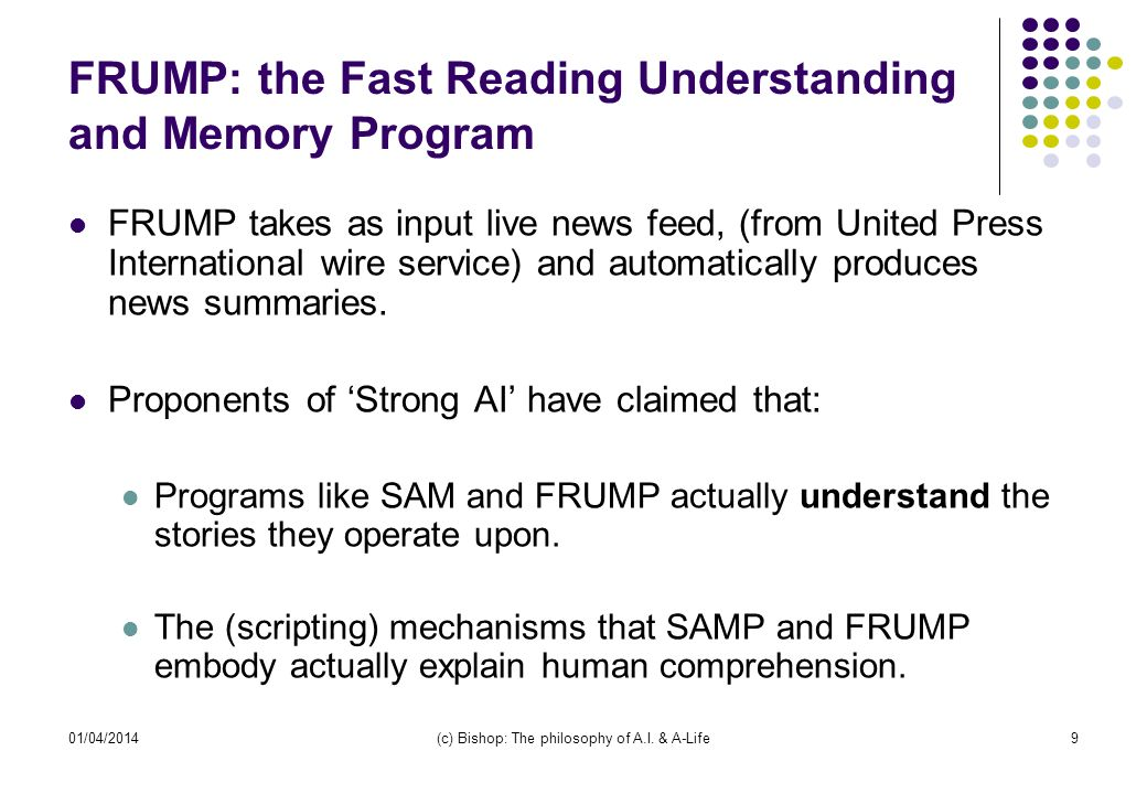 FRUMP: the Fast Reading Understanding and Memory Program