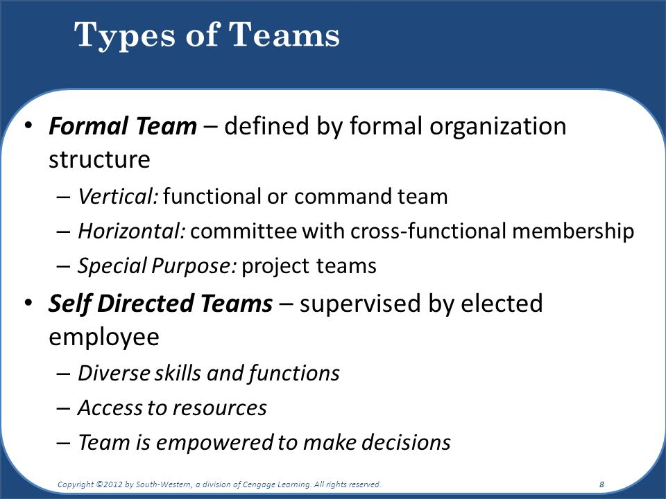 Types of Teams Formal Team – defined by formal organization structure