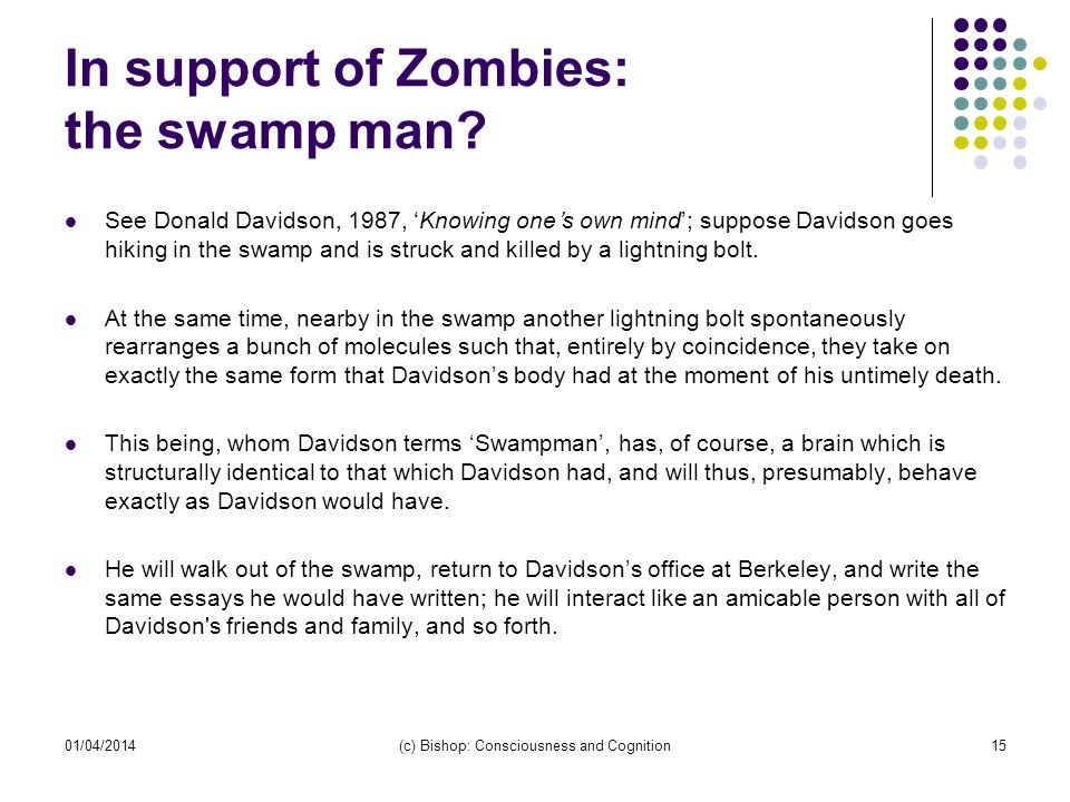 In support of Zombies: the swamp man