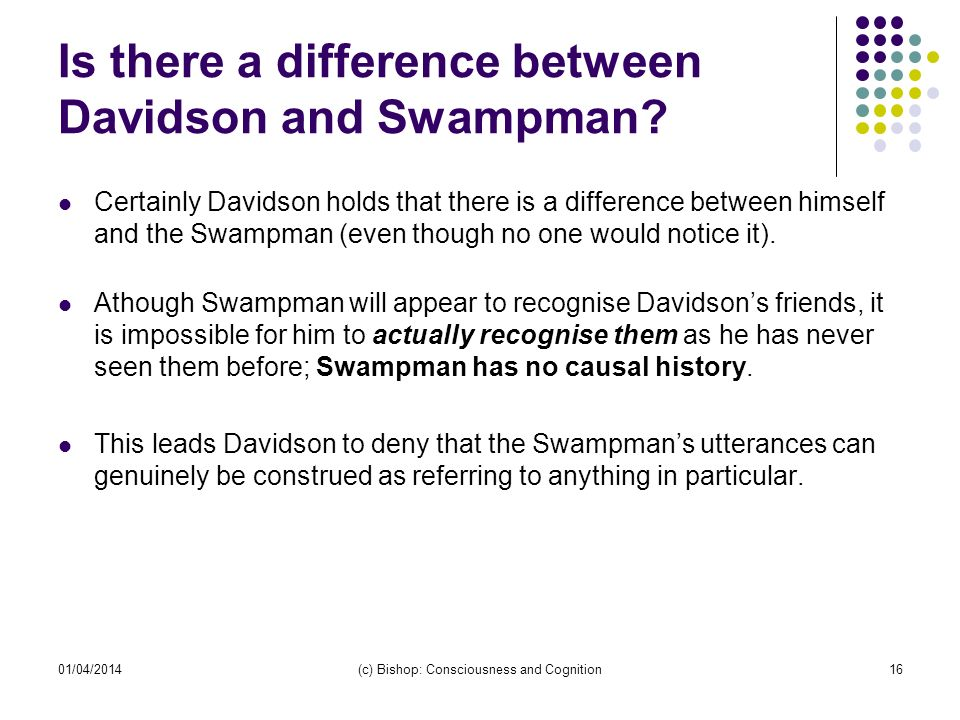 Is there a difference between Davidson and Swampman