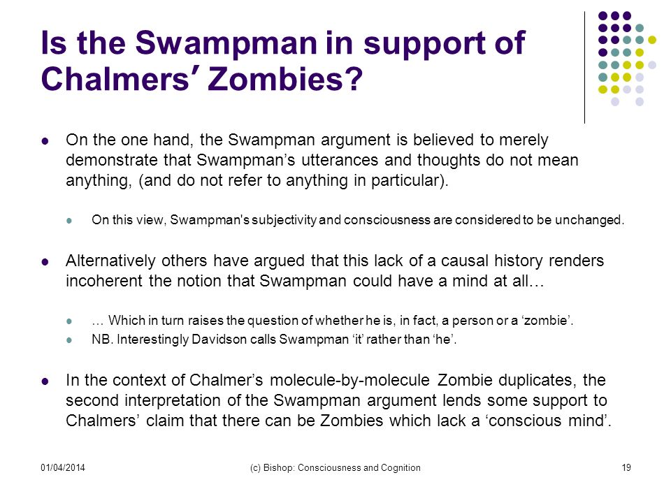 Is the Swampman in support of Chalmers' Zombies