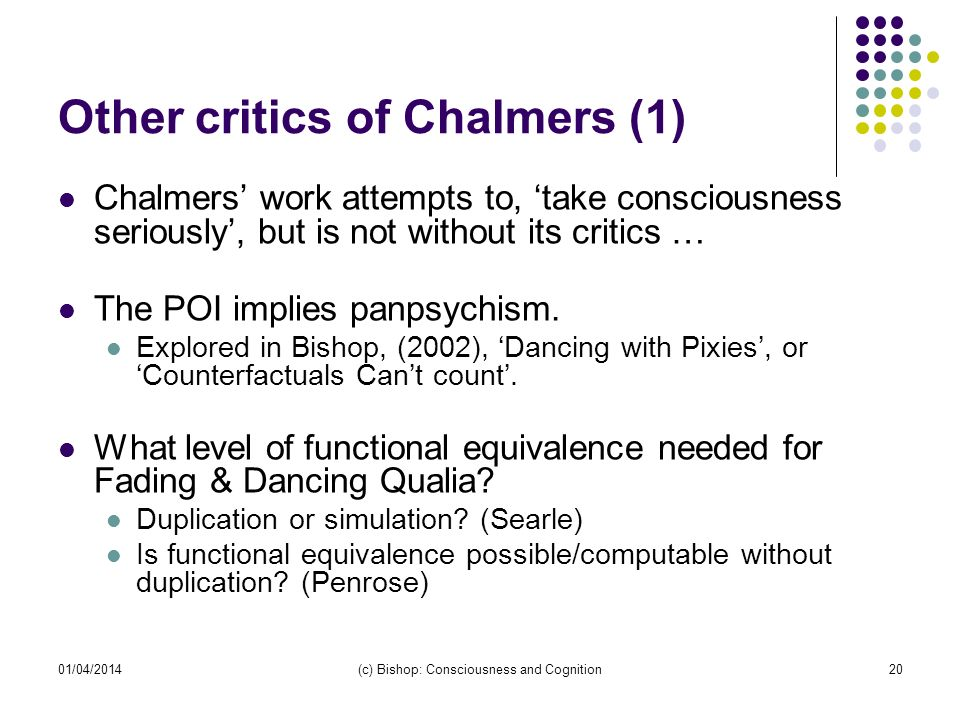 Other critics of Chalmers (1)