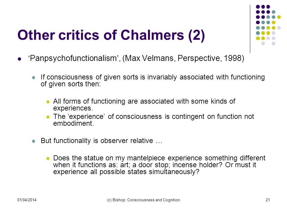 Other critics of Chalmers (2)