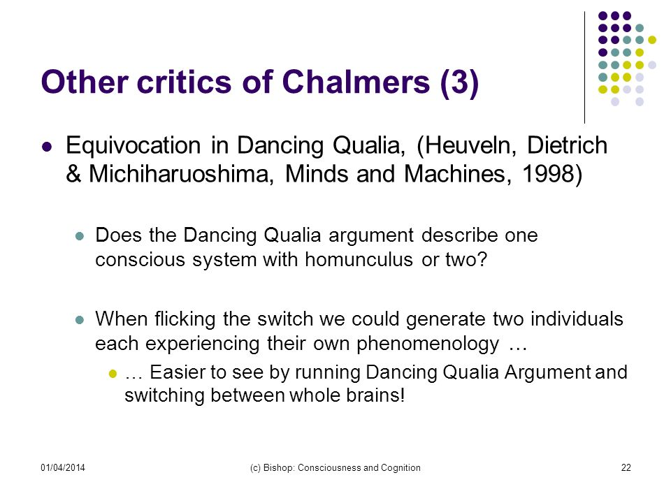 Other critics of Chalmers (3)