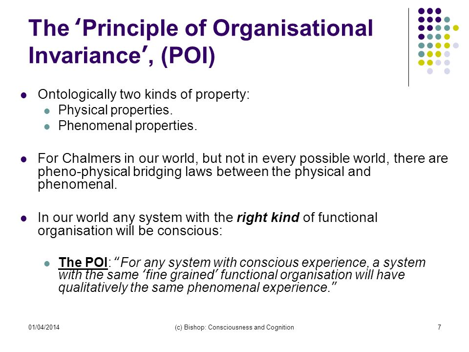 The 'Principle of Organisational Invariance', (POI)
