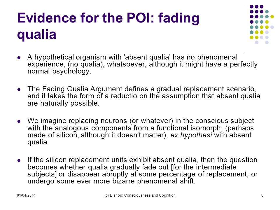 Evidence for the POI: fading qualia