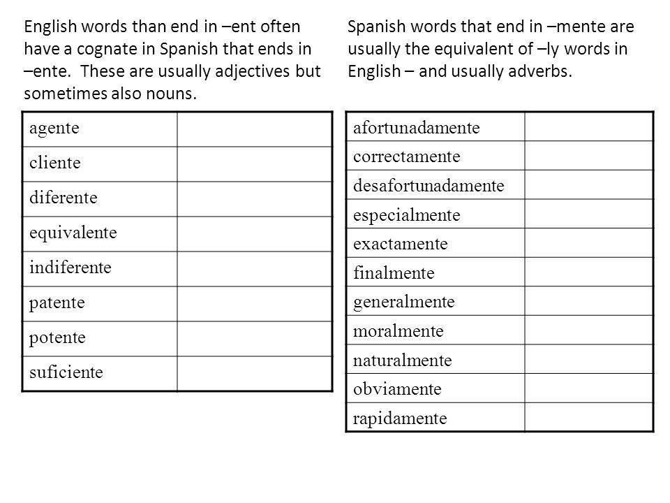English words than end in –ent often have a cognate in Spanish that ends in –ente. These are usually adjectives but sometimes also nouns.