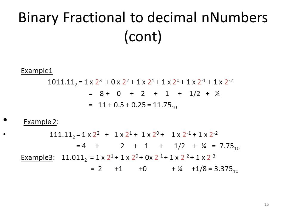 Binary Fractional to decimal nNumbers (cont)