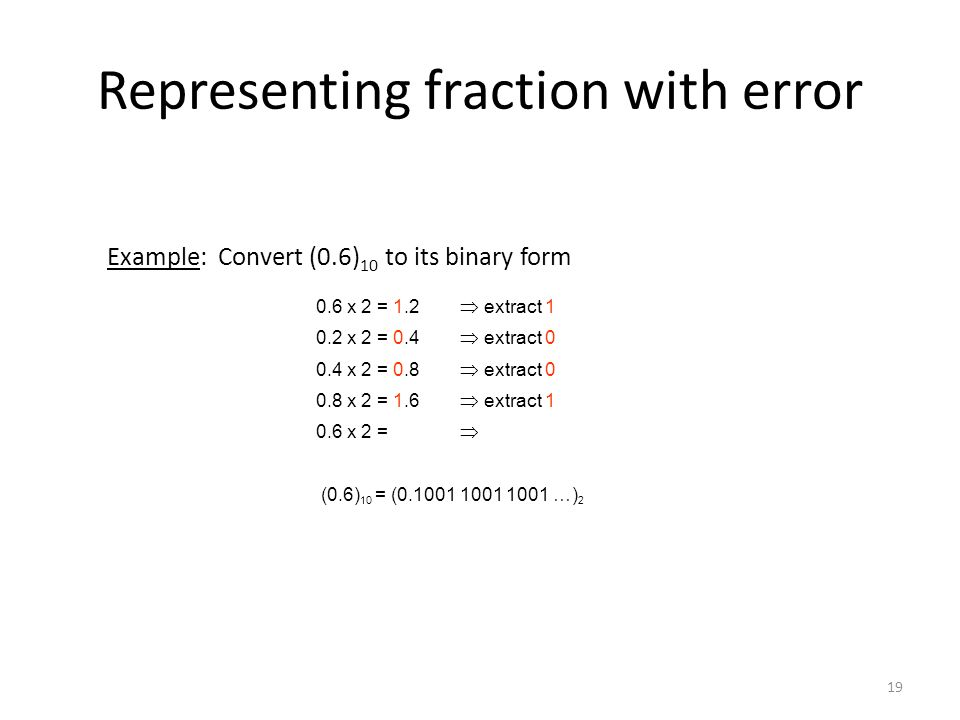 Representing fraction with error