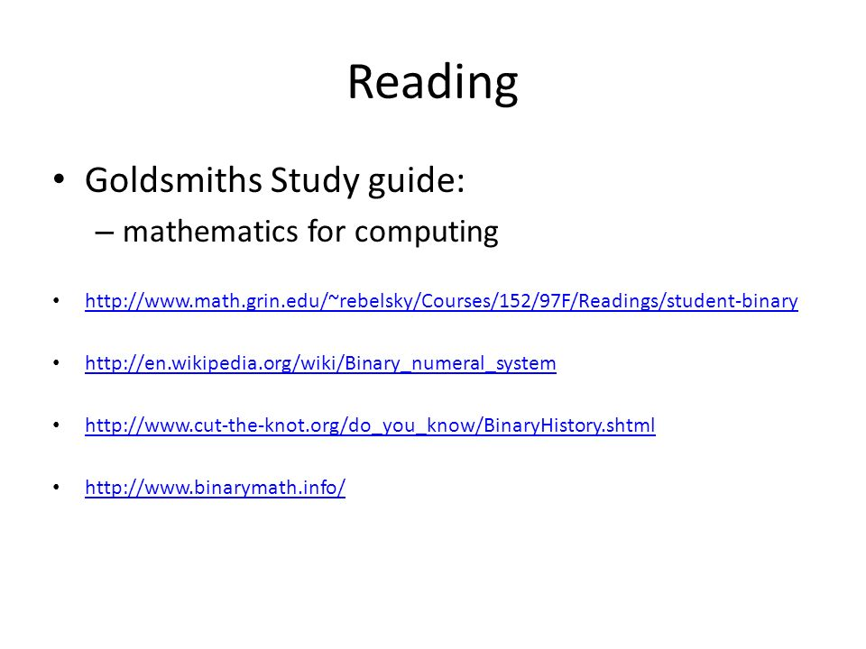 Reading Goldsmiths Study guide: mathematics for computing