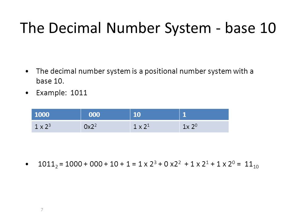 The Decimal Number System - base 10