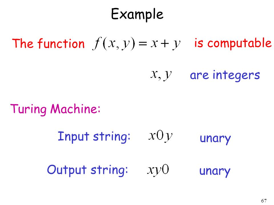 Example The function is computable are integers Turing Machine: