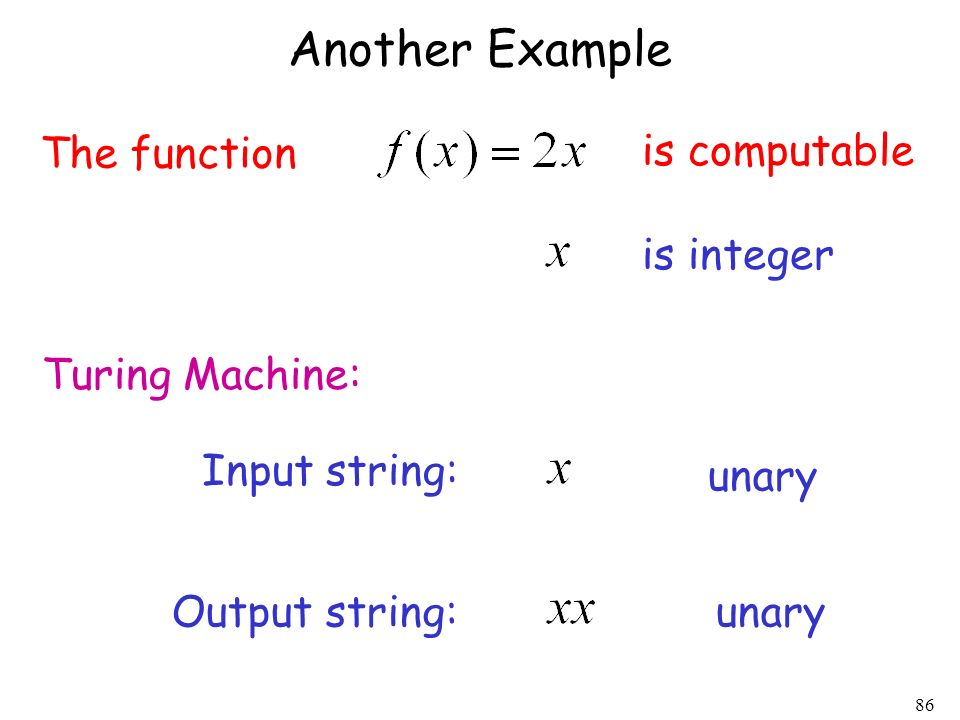 Another Example The function is computable is integer Turing Machine: