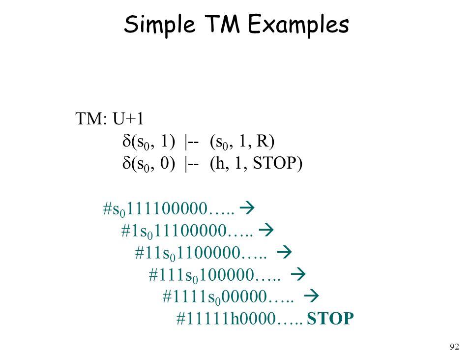 Simple TM Examples TM: U+1 d(s0, 1)  -- (s0, 1, R)