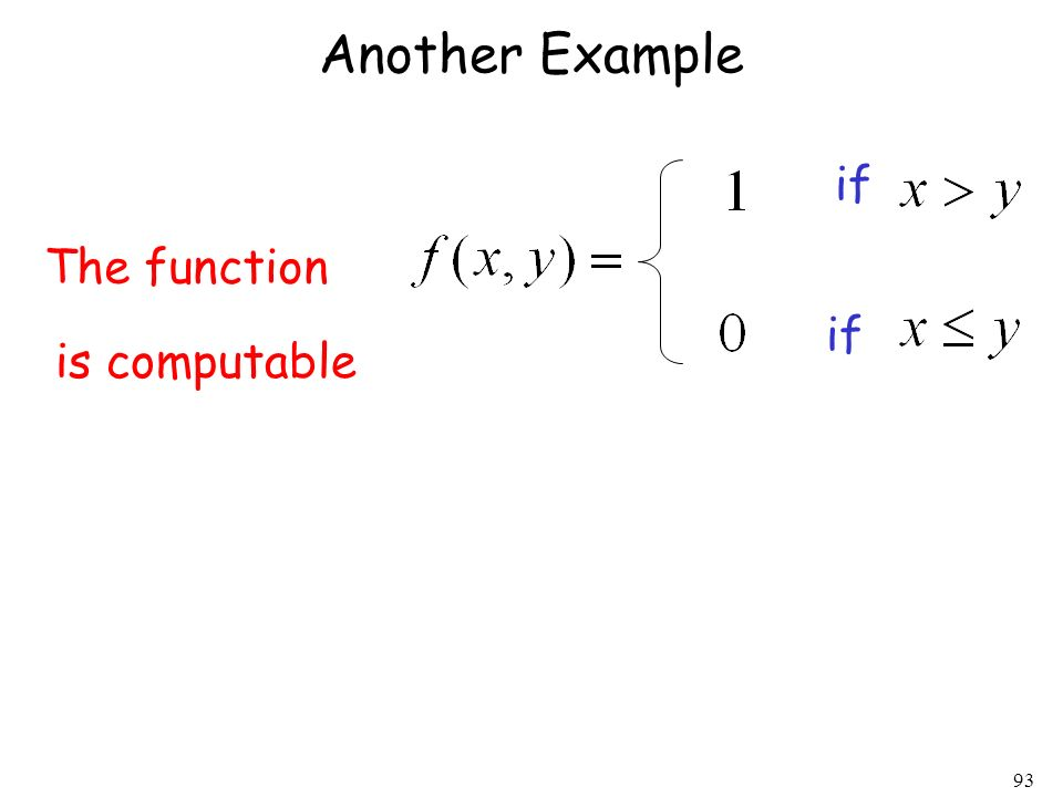 Another Example if The function if is computable