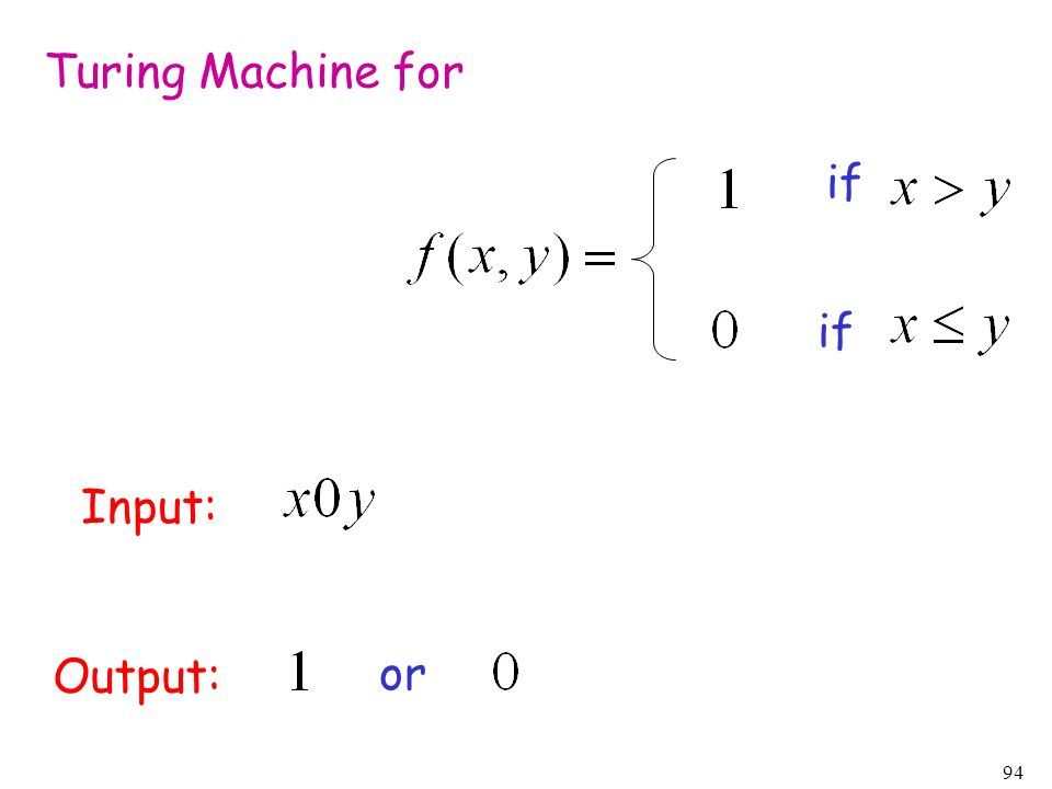 Turing Machine for if if Input: Output: or