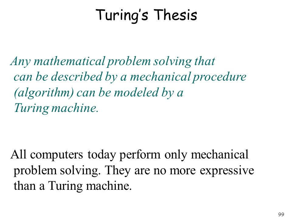 Turing's Thesis Any mathematical problem solving that