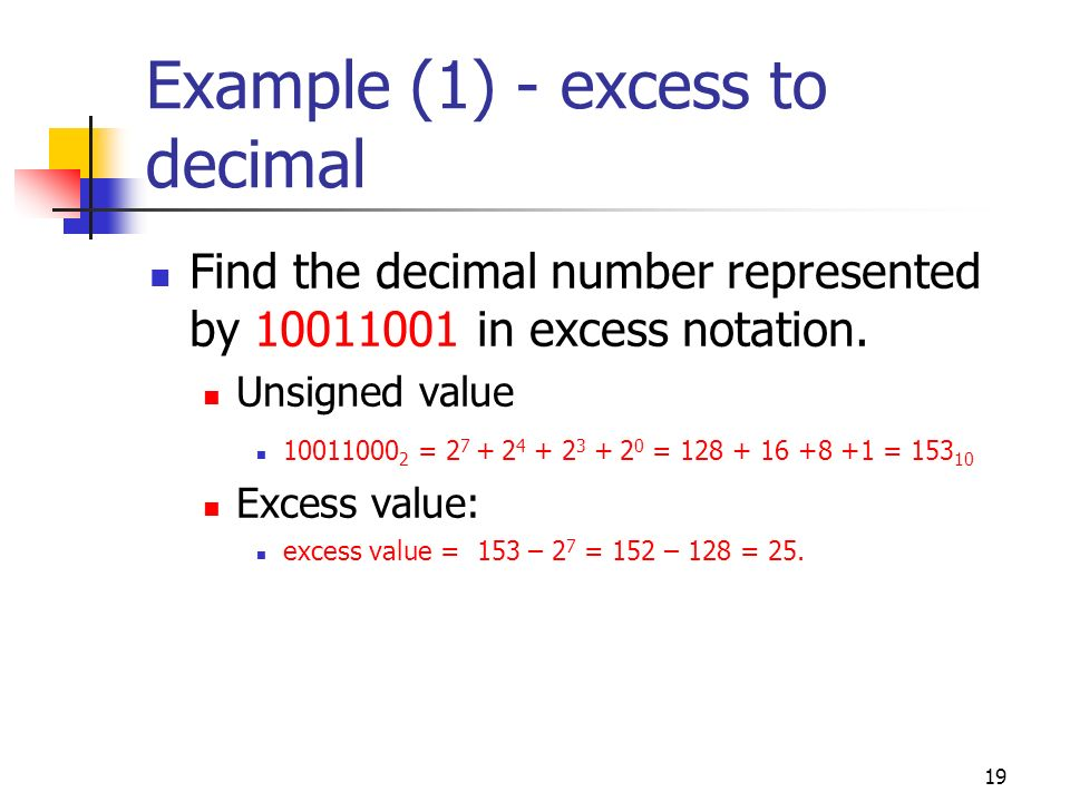 Example (1) - excess to decimal