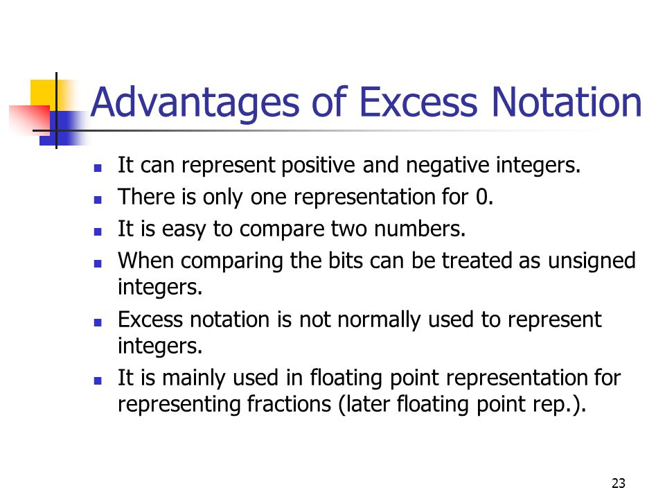 Advantages of Excess Notation