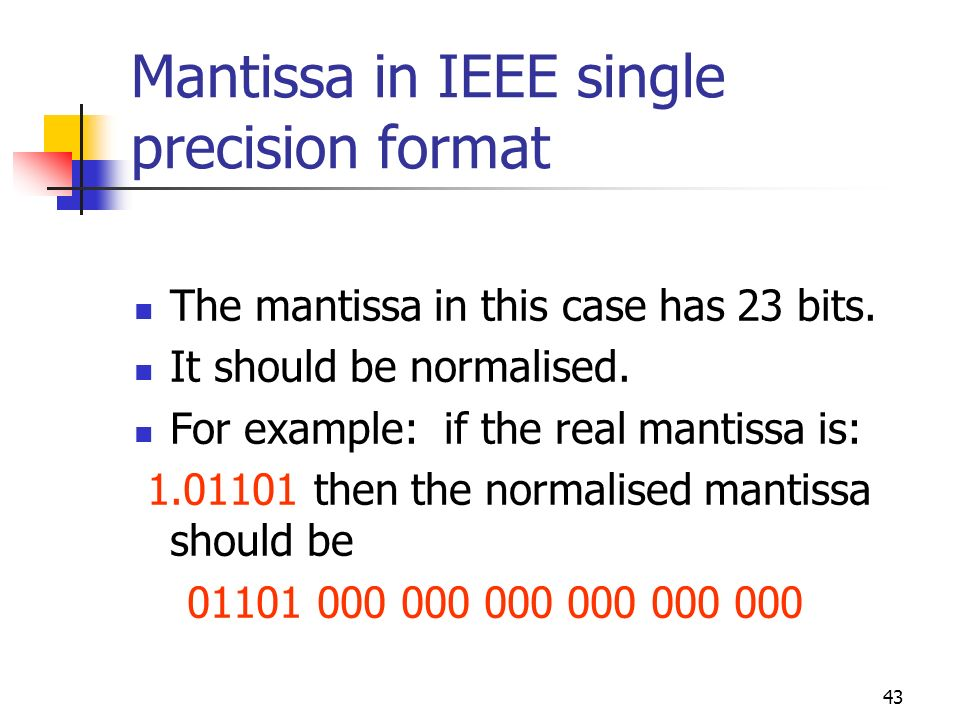 Mantissa in IEEE single precision format