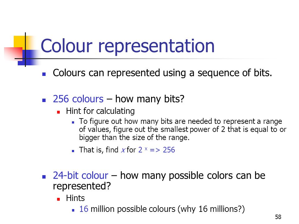 Colour representation
