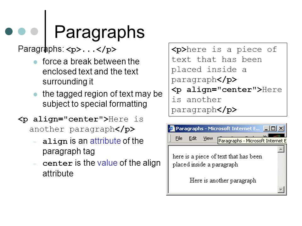 Paragraphs Paragraphs: <p>...</p>