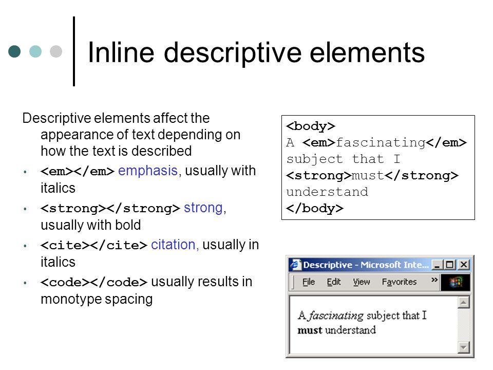 Inline descriptive elements
