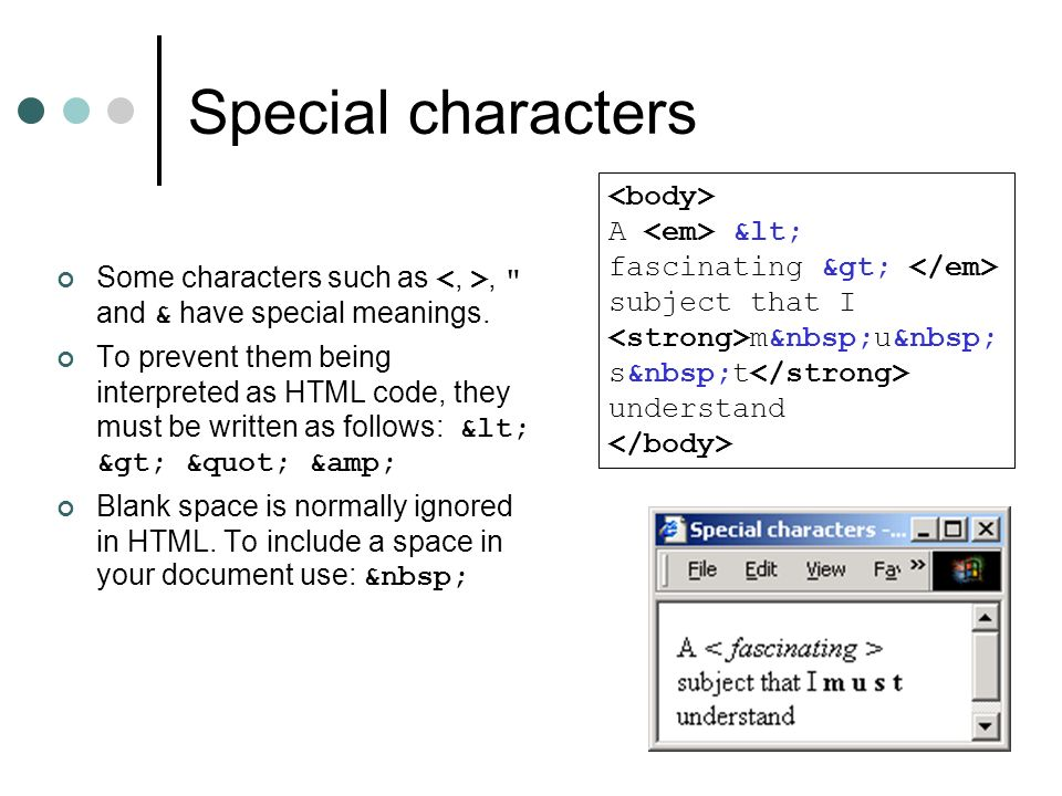 Special characters <body>